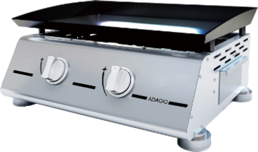 Gas Plancha Flat Plate Grill 2 Burners Black Collection With Lid