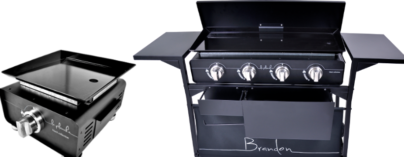 Gas Plancha Flat Plate Grill 2 Burners Black Collection With Lid and Trolley