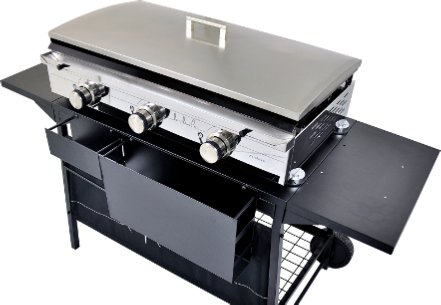 Gas Plancha Flat Plate Grill 2 Burners Pro Collection With Lid